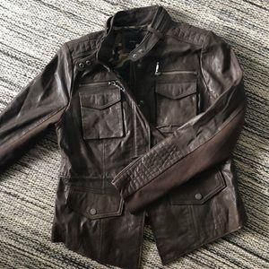BCBG Brown Leather Moto Jacket